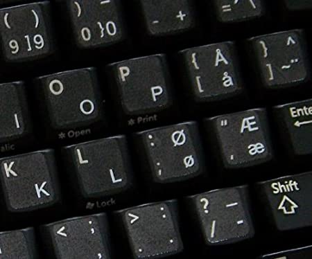 Geeignet f/ür Jede Tastatur Qwerty Keys Norwegisch transparente Tastaturaufkleber mit Gelben Buchstaben