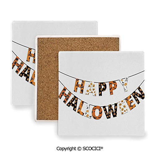 Ceramic coaster With wood Bottom Protection, For Mugs, Wine Glasses, Protects Furniture Square,Halloween,Happy Halloween Banner Greetings Pumpkins Skull,3.9