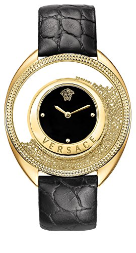 Versace Women's 'Destiny Spirit Small' Swiss Quartz Stainless Steel and Leather Casual Watch, Color:Black (Model: VAR040016)