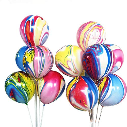 50 Pcs Rainbow Agate Marble Latex Balloons, Color Marble Tie Dye Swirl Effect Easter Balloons for Easter Decoration, Wedding, Birthday Party Decor ()