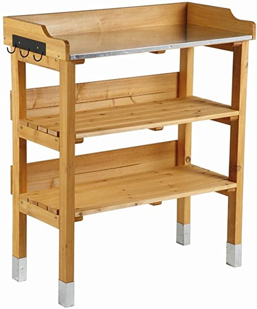 Macetero mesa con galvanizado – Fregadero y perchero: Amazon.es: Jardín