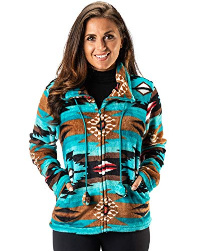 Womens Microfleece Full Zip Jacket - TrailCrest - Women's Full Zip Microfleece Jacket, 9 Aztec/Ikat Inspired Patterns
