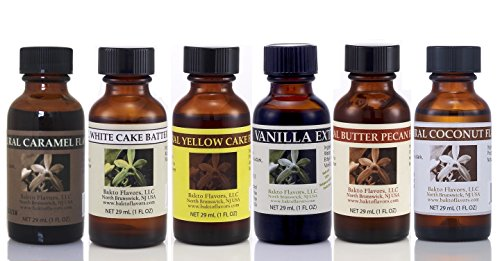 Bakto Flavors CARAMEL, VANILLA, WHITE CAKE BATTER, YELLOW CAKE, COCONUT, BUTTER PECAN Extracts: PROTEIN SHAKE, Combo Pack Of 6: Natural Collection For Cooking and Baking Food Items! 1 OZ (Coconut Pecan Cake)