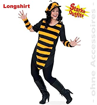 Narrenwelt Biene Big Bee Mit Plusch 54 1tlg Damen Longshirt Big