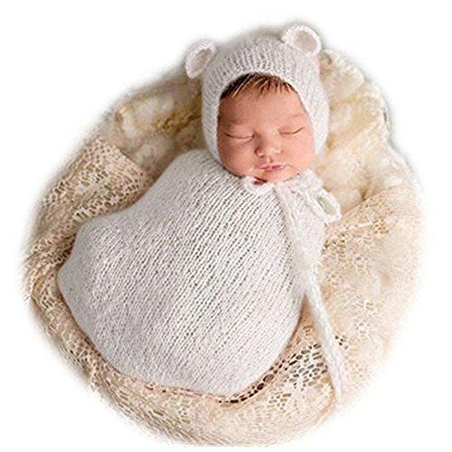 - Vemonllas Fashion Newborn Boy Girl Baby Costume Knitted Photography Props Hat Sleeping Bag White