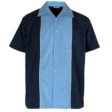 e2fb2e7eb492 Relco - Herren Hemd kurzärmelig - Retro Bowling-Stil - Blau Himmel   Amazon.de  Bekleidung