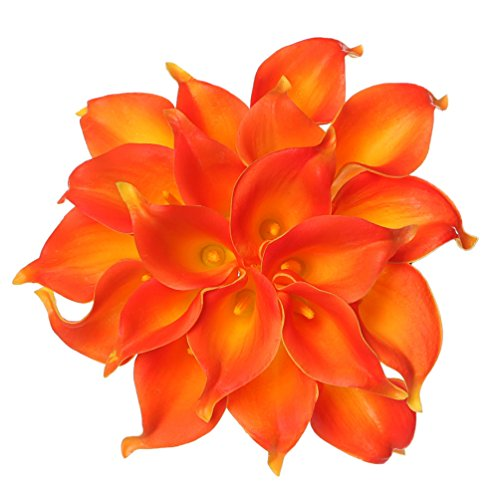 Houda Calla Lily Bridal Wedding Artificial Fake Flowers Party Decor Bouquet PU Real Touch Flower 10PCS (Orange) -