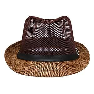 Butterme Unisex sombrero Fedora sombrero de Panamá paja malla transpirable sombrero de paja Fedora, marrón