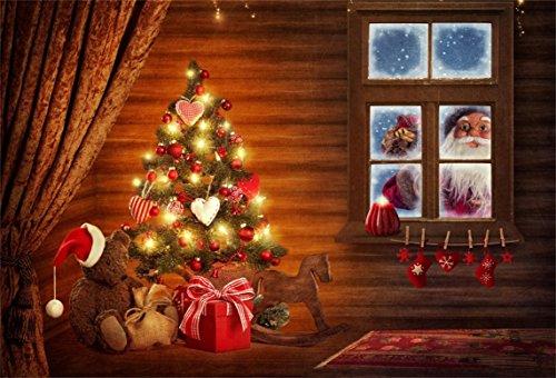 AOFOTO 7x5ft Christmas Tree Backdrop Santa Claus Hat Xmas Gift Photography Background Child Kid Baby Artistic Portrait New Year Photo Shoot Studio Props Video Drop Vinyl Interior Decoration Wallpaper (Claus Portrait Santa Christmas)
