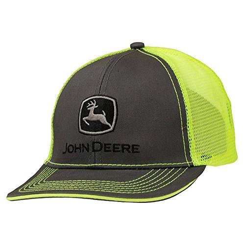 John Deere Charcoal with Neon Yellow Mesh Backing Snapback Hat - 13080411CH00