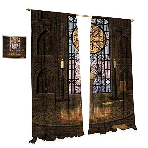 - Gothic Room Darkening Wide Curtains Lectern on Pentagram Symbol Medieval Architecture Candlelight in Dark Altar Decor Curtains by W120 x L96 Olive Green Mustard