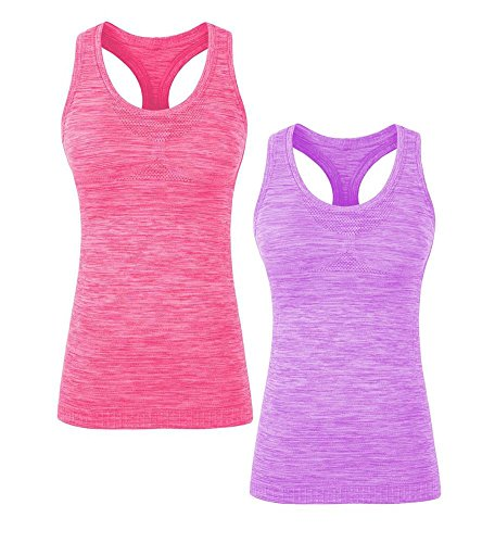 YAKER Women's Active Fitness Workout Soft Stretch Racerback Yoga Tank Top Shirt (S Fit for 32A/32B/32C/34A/34B, 2Pack Purple/Red)