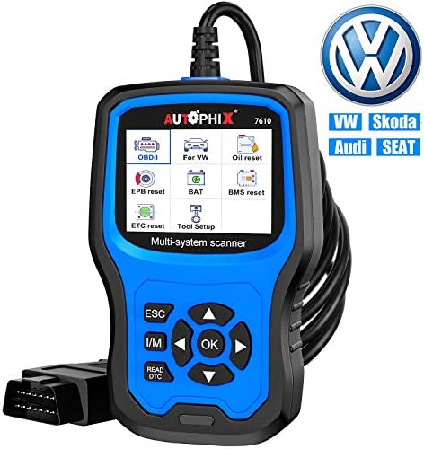 Car Code Reader for VW Audi Skoda Seat All Series, Enhanced Full-Systems Diagnostic Scanner With Transmission EPB ABS SRS DPF TPMS Check Engine Oil Service & Brake Pad Reset Tool [New Version]