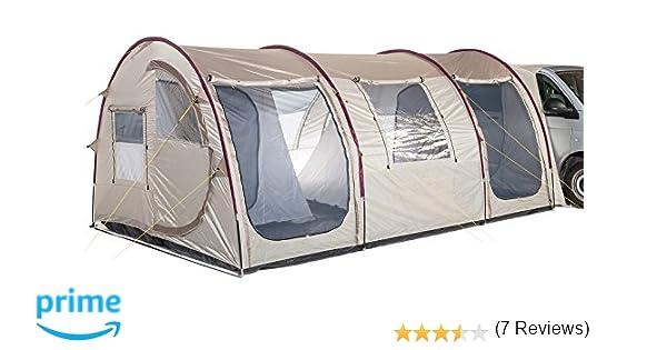 skandika Familienzelt Esbjerg Travel 4 - Tienda de campaña iglú, color arena/rojo: Amazon.es: Deportes y aire libre