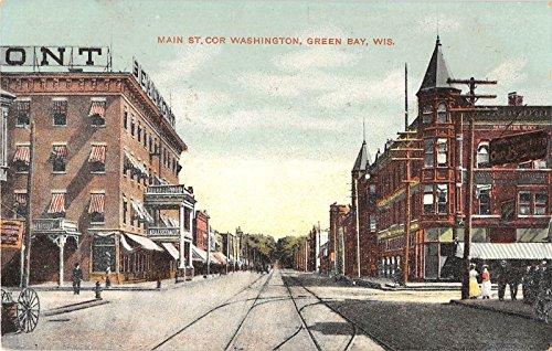 (Green Bay Wisconsin Main St corner of Washington trolley tracks antique pc Y6894)