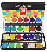 Arteza Ensemble Peinture Aquarelle Haut De Gamme Pour Enfants, 25 Godets Avec Couleurs Vives, Com...