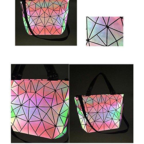 Moda Para Mujer Bolsa De Cubo Luminosa Estilo Japonés Bolso De Costura Geométrica Bolso De Mensajero De Hombro Bolso De Variedad LuminousTrumpet