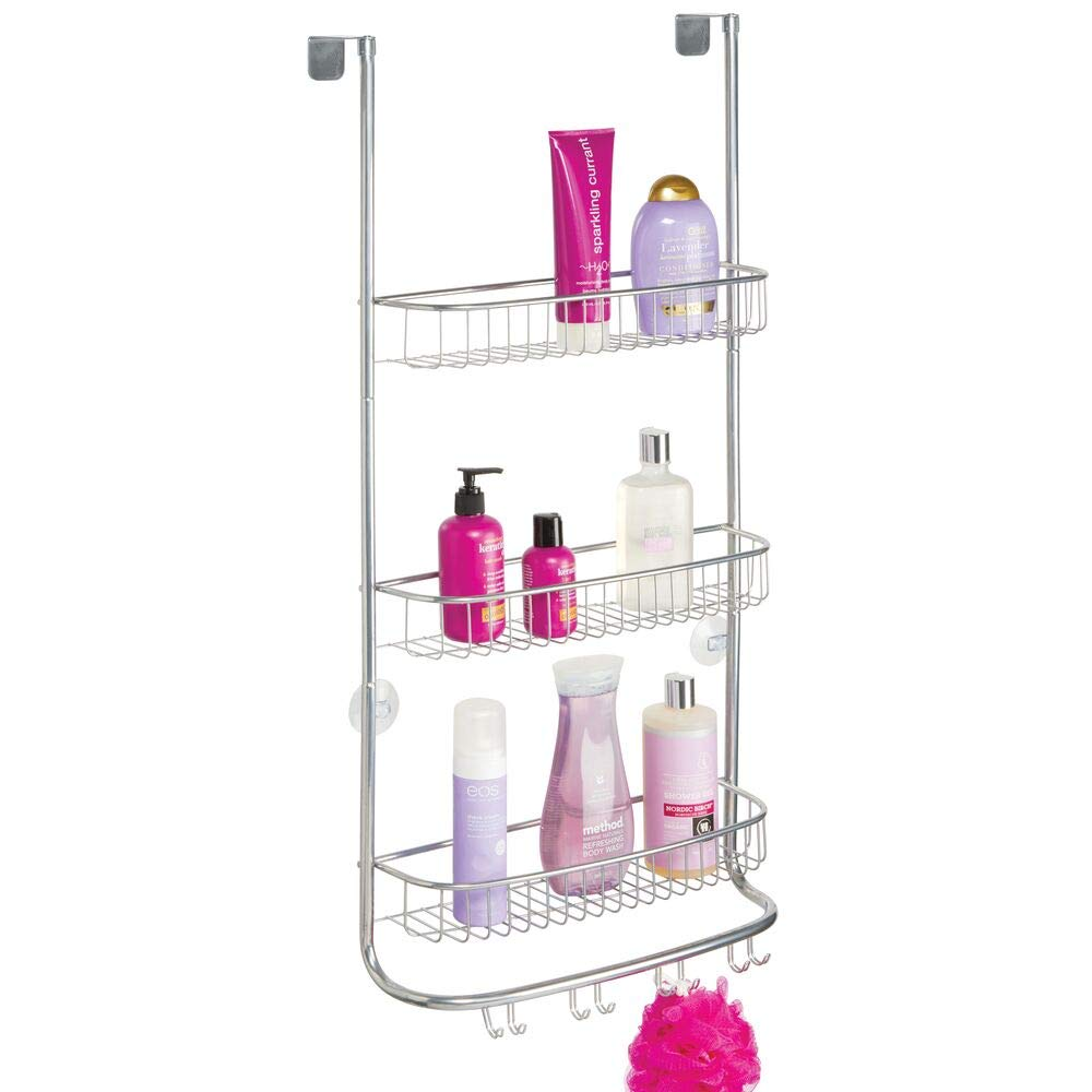 mDesign Metal Wire Over Shower Door Caddy, Bathroom Hanging Storage Organizer Center, Built-In Hooks, 3 Tier Shelves for Shower Stalls - Holds Shampoo, Body Wash, Loofahs, Razors, Extra Large - Chrome