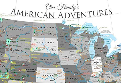 national parks push pin map usa travel map large framed push pin