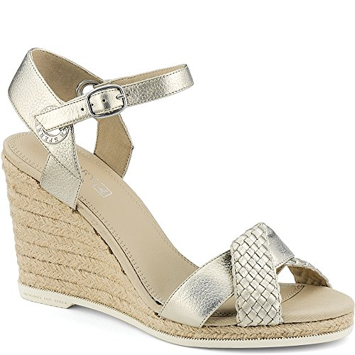 Sperry Top-Sider Saylor Wedge Women 6.5 Platinum Woven Leather