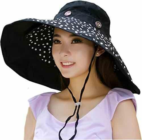 05dc54f5b80 Packable Extra Large Brim Floppy Sun Hat Reversible UPF 50+ Beach Sun  Bucket Hat