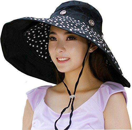 iHomey Packable Shapeable Extra Large Brim Floppy Sun Hat Reversible UPF 50+ Beach Sun Bucket Hat