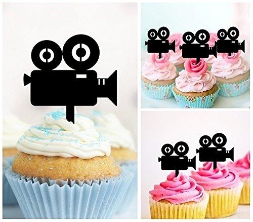 TA0351 Movie Camera Silhouette Party Wedding Birthday Acrylic Cupcake Toppers Decor 10 pcs