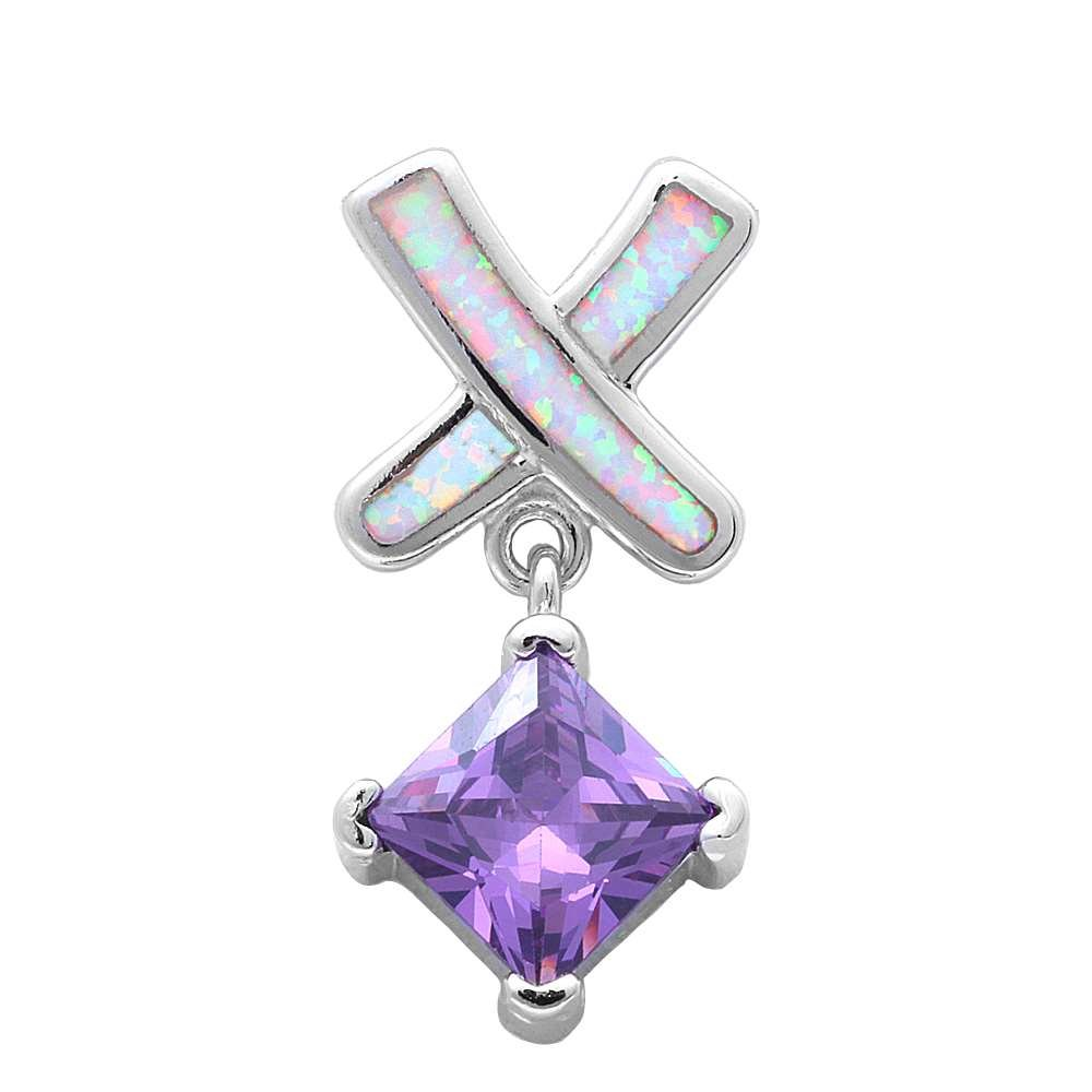 Lab Created White Opal /& Simulated Amethyst .925 Sterling Silver Pendant