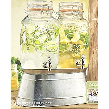 Palais Glassware High Quality Clear Glass Beverage Twin Dispenser with Bail & Trigger Locking Lid - 3.68 Quart Each, with Ice Bucket Base