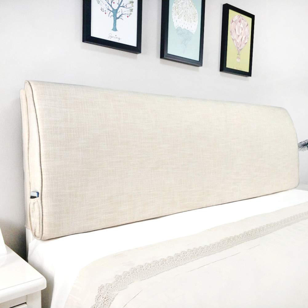 PENGFEI Cushion Bed Backrest Headboard Soft Cover Cotton and Linen Lumbar Pillow, with/Without Headboard Standard, 3 Colors, 9 Sizes (Color : Beige No headboard, Size : 90CM)