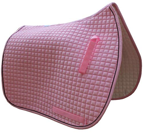 Dressage Saddle Pad   Box-Quilted Cotton/Foam   PRI Pacific Rim (Baby Pink w/Black Piping)