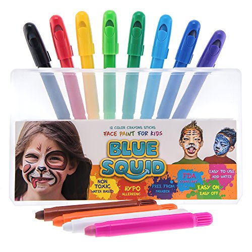 Blue Squid Face Paint Crayons for Kids | 12 Color No Mess Twistable Marker Sticks | Best Quality Body Painting Set | Water Based Non-Toxic FDA Approved |+Online Guide