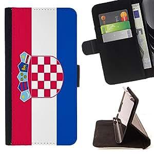 - Flag - - Prima caja de la PU billetera de cuero con ranuras para tarjetas, efectivo Compartimiento desmontable y correa para la mu?eca FOR Apple iPhone 6 6S 4.7 King case