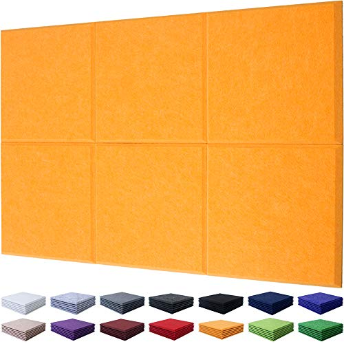 """Sound Absorber Panels Orange Polyester Sound Proof Padding Acoustic Treatment Panels, Multiple Colors, Beveled Edge, 12"""" X 12"""" X 3/8"""", 6 Pack"""