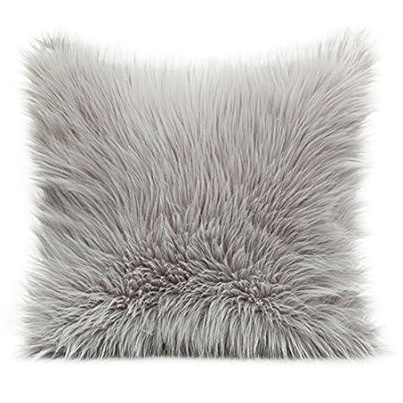 Almohada 45 X 45 cm Piel Sintética cremallera Acero sofá cojín de pelo largo flojel 818