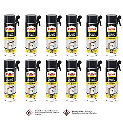 12 x Pattex 1 K Power de espuma de poliuretano – Puertas y bastidor 500 ml