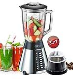 Standmixer Glas Edelstahl 700 Watt Smoothie Maker Ice Crusher Universal Mixer inkl. Zerkleinerer Kaffemühle Aufsatz