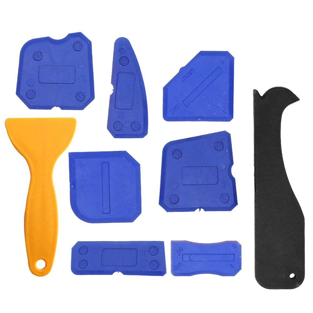 Sealant Tool Kit, 9 Pieces Blue Caulking Kit Silicone Remover Sealing Tool for Bathroom Kitchen Floor Sealing and Frames Sealant Seals Dawa