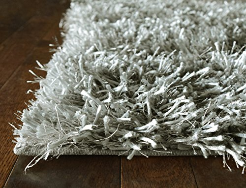 Cheap iCustomRug Mercedes Best Indoor Fluffy Shag Area Rug 3ft0in x 4ft6in (3'x5′) In Silver Grey