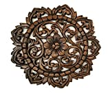 Thai Handmade Wall Art Wall Decor Wood Plaque Flower Carved
