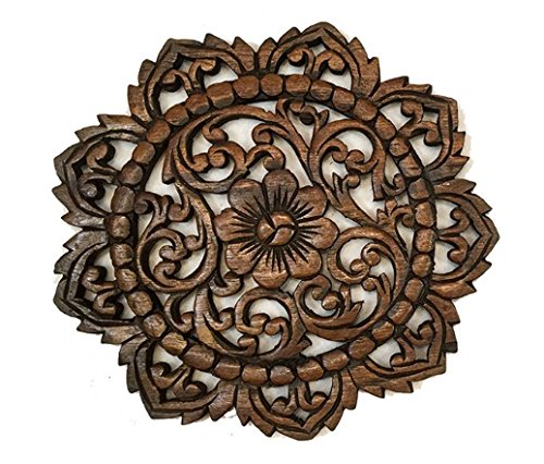 Thai Handmade Wall Art Wall Decor Wood Plaque Flower Carved