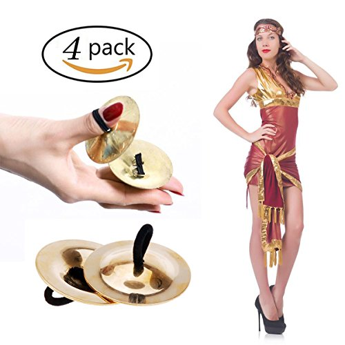 Finger Cymbal Instruments (Finger Cymbals, LLOP 4pcs Mini Music Instrument Rhythm Maker Finger Cymbals Belly Dancing Gold Musical Instrument For Children Kids Boys Girls)