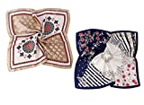 GERINLY 2 Pack Vintage Floral Square Scarf: Silk Touch Bandana Women Neck Kerchief Travel Headwrap (Navy/Khaki)
