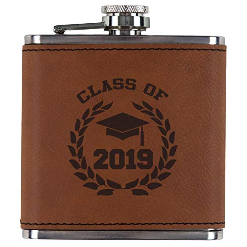 Old Glory Graduation - Class of 2019 Laurel Etched Leatherette Flask Rawhide Standard One Size