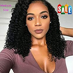FAVE Lace Front Curly Human Hair Wigs for Women Brazilian Virgin Human Hair Wigs 150% Density Natural Color (14 inch)