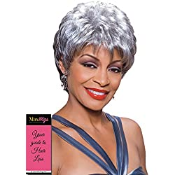 Diane Wig Color 280 Salt and pepper - Foxy Silver Wigs Short Chic Pixie Wispy Fringe Crown Volume Synthetic African American Lightweight Average Cap Bundle with MaxWigs Hairloss Booklet