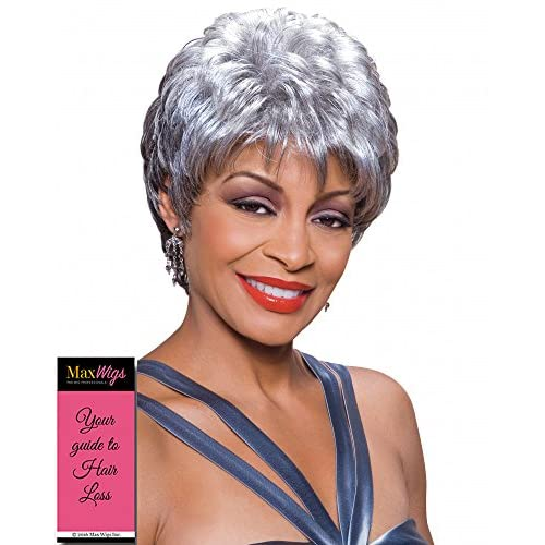 Wholesale Diane Wig Color 1 Black - Foxy Silver Wigs Short Chic Pixie Wispy Fringe Crown Volume Synthetic African American Lightweight Average Cap Bundle with MaxWigs Hairloss Booklet free shipping