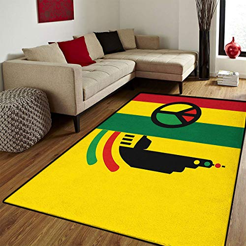 (Rasta,Bath Mat for tub,Iconic Barret Reggae and Jamaican Music Culture with Peace Symbol and Borders,Bath Mat Bathroom Mat with Non Slip,Red Green Yellow,5x8 ft)