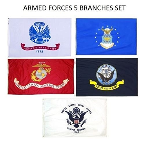 3X5 Military 5 Branches Armed Forces Army Air Force EGA Marines USMC Navy Ship Coast Guard DOUBLE SIDED Nylon FLAG Set Flags 3ftx5ft House Banner Double Stitched Fade Resistant Premium Quality