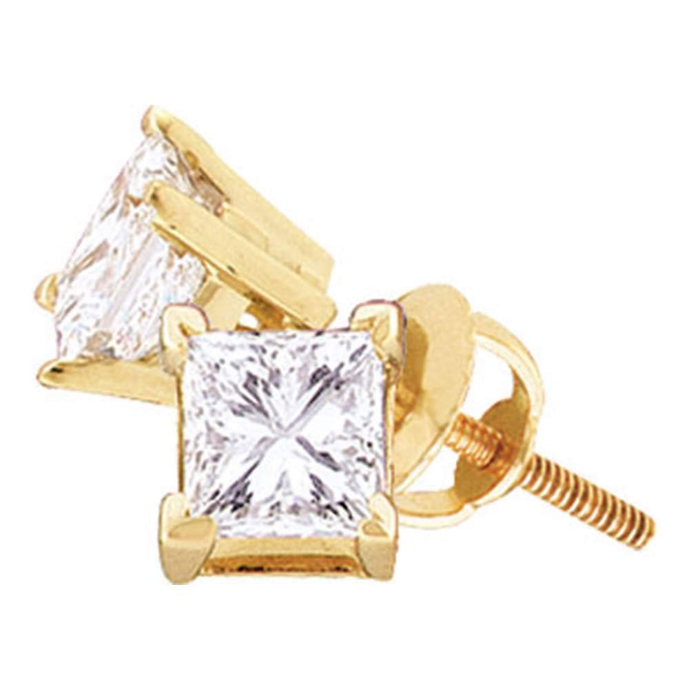The Diamond Deal 14kt Yellow Gold Unisex Princess Diamond Solitaire Stud Earrings 3//8 Cttw DD-51751